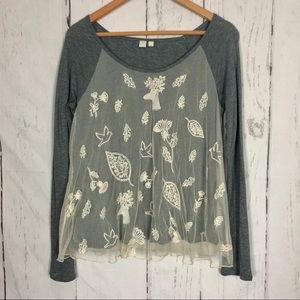 Eloise Anthropologie Lace Overlay Gray Top S